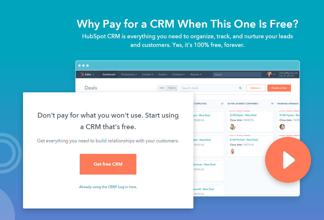 Hubspot CRM building product marketing agency