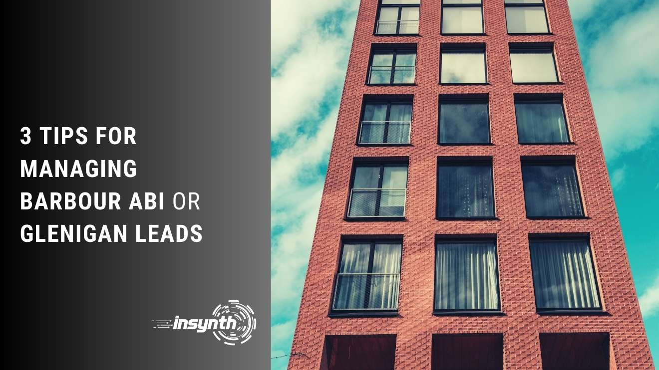 blog header image for tips for managing barbour abi or glenigan leads building with red bricks